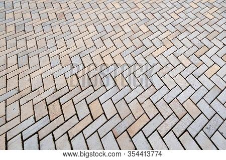 Paving Stones Texture. Bridge Road. Street Pavement Pattern. Paved Sidewalk. Background For Creativi