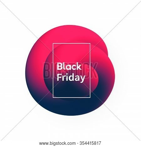 Black Friday Abstract Banner. Modern Promo Poster With Fluid Shape.