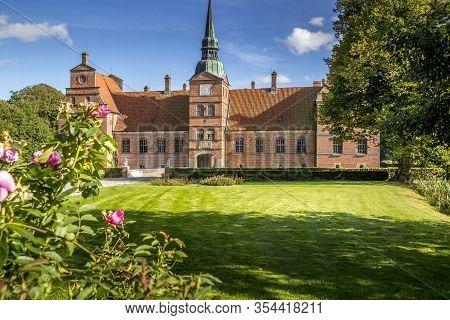 Hornslet, Denmark - 08 Sep 2012: Denmark View Of Rosenholm Castle On A Sunny Sommer Day.