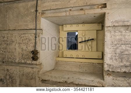 Inside View Of Windows And Room Of A German Second World War Bunker In Cap Ferret, France.