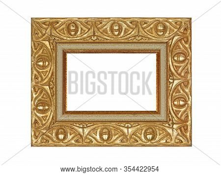 Empty Wooden Frame For Paintings With Gold Patina. Isolated On White Background