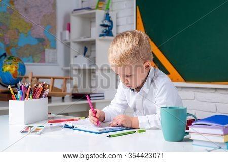 After School Teaching. Happy School Kids At Lesson. Child Tutoring. School Kids. Elementary School C