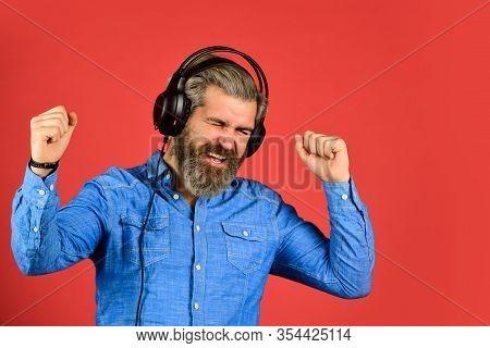 Music Beat. Rhythm Concept. Man Bearded Hipster Headphones Listening Music. Hipster Enjoy Excellent