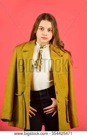 Pure Beauty. Small Girl Wear Autumn Jacket. Retro Fashion Model. Beauty And Fashion. Looking Trendy