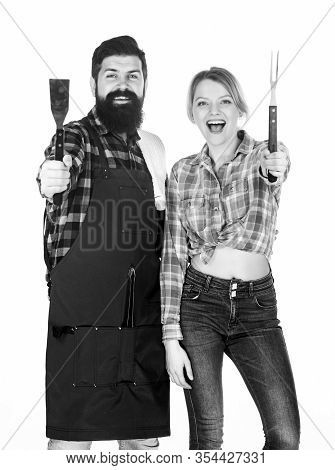 Cooking Together. Couple In Love Getting Ready For Barbecue. Man Bearded Guy And Girl Ready For Barb