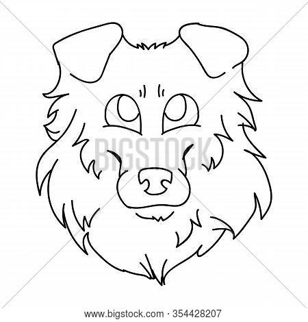 Cute Cartoon Rough Collie Dog Face Monochrome Vector Clipart. Pedigree Kennel Sheepdog Lineart. Pure