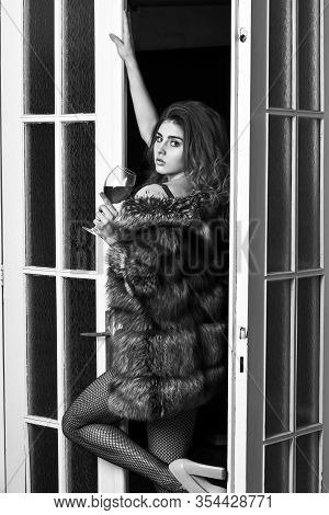 Seduction Art Concept. Girl Enter Bedroom Doors. Fashion Lady Enjoy Her Seductiveness. Woman Seducti