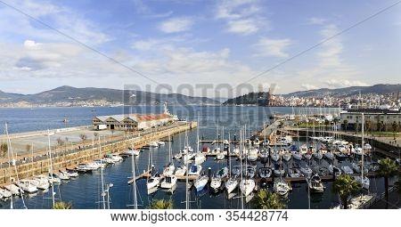 Panorama Of Vigo Estuary, Marina Of The Real Club Nautico Yacht Club And Transatlantic Dock. Ponteve