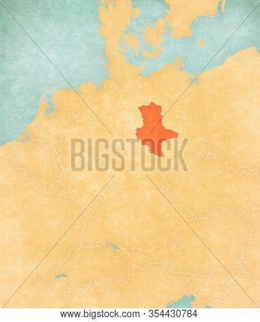 Saxony-anhalt On The Map Of Germany In Soft Grunge And Vintage Style, Like Old Paper With Watercolor