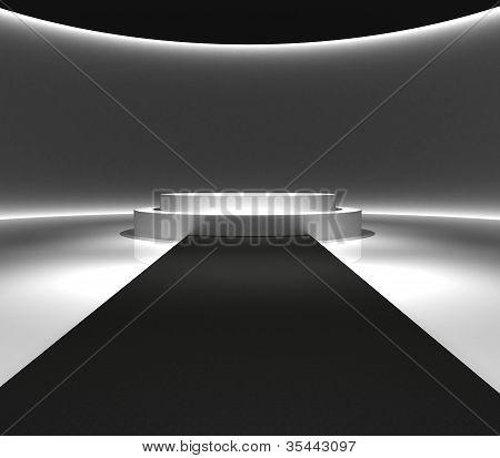 Podium Design And Carpet Walkway 3D Rendering
