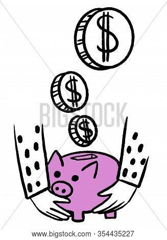 Money Cash, Coins, Piggy Bank. Cute Piggy Bank. Piggy Bank Icon Vector. Investment Financial Concept