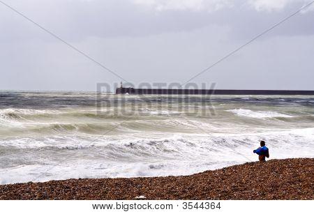 Man Changing On Beach