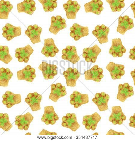 Seamless Pattern With Cats Foot With A Green Shamrock Pad. Hand-drawn Watercolor Background. Funny C