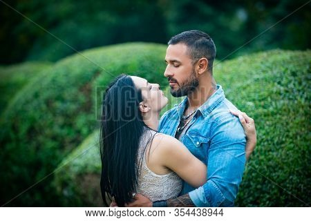 Young Tender Lover Enjoys Touching Soft Skin Of Sensual Sexy Lady. Sensual Relationship. Intimacy Se