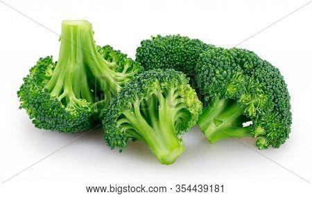 Fresh Broccoli Isolated On White Background Closeup