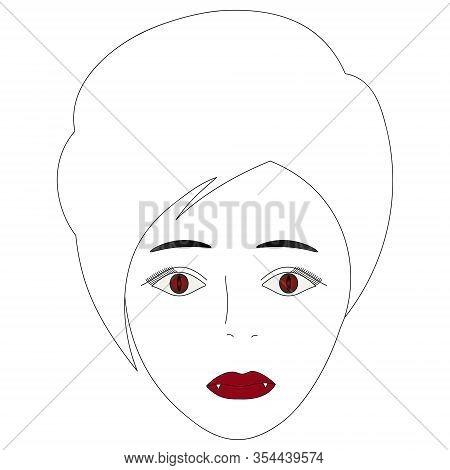 Vector Illustration Of The Face Of A Vampire Girl. Full Face. Short Pixie Haircut. Plump Lips, White