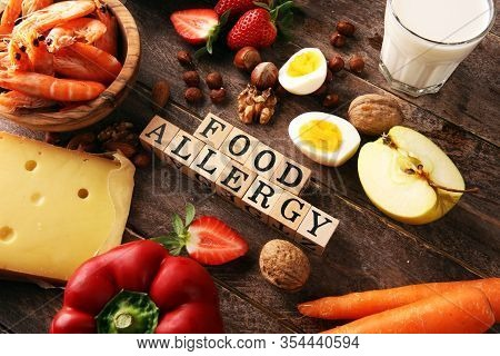 Allergy Food Concept. Allergy Food As Almonds, Milk, Cheese, Strawberry, Seeds, Eggs, Peanuts And  C