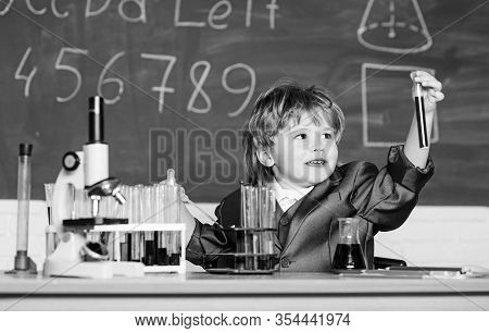 Boy Microscope And Test Tubes School. Knowledge Concept. Knowledge Day. Inspiration For Investigatio