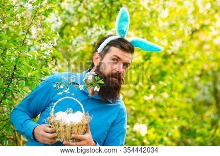 Happy Easter. Humorous Series Of A Man In Bunny Suit. Good For Easter Or Ironic Situations