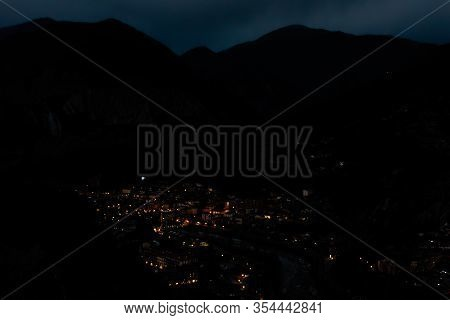 The Panoramic View Of A Medieval French Village Puget-theniers At Night In The Dark