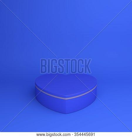 Happy Valentines Day, Valentines Day Display, Blue Gold Podium Display Heart Shape Background, Valen