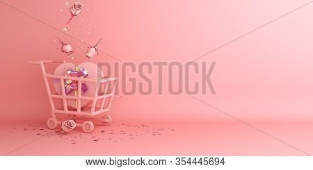 Happy Valentines Day, Valentines Day Background, Rose Flower Heart Shape Gift Box, Trolley Cart, Bal