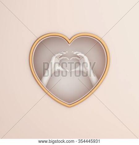 Happy Valentines Day, Valentines Day Background, White Beige Gold Window Frame And Hand Heart Shape