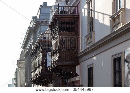 Beautiful Wooden Balconies With Intricate Detail Down Town Lima, Peru.