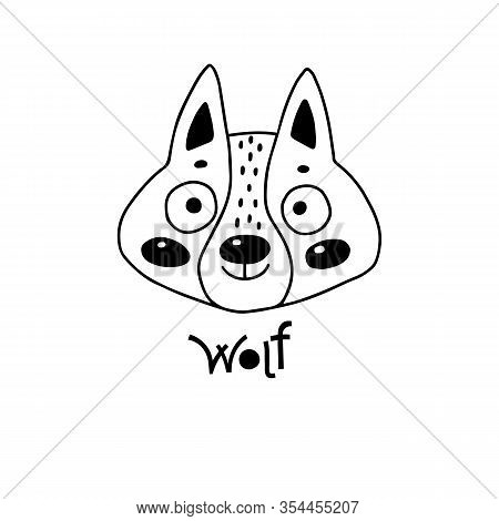 Avatar Cute Face Wolf Cub Portrait. Vector Illustration In Cartoon Style