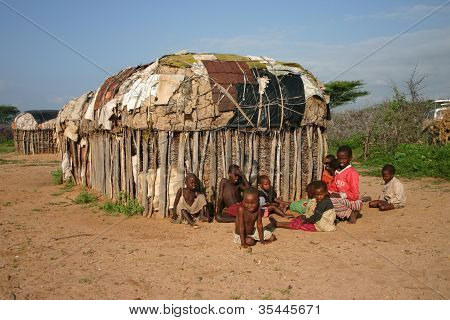 Samburu Children and House in Kenya, Africa