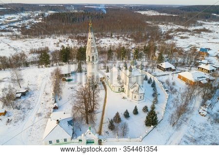 Ancient Transfiguration Cathedral On January Day Aerial Photography). Sudislavl. Kostroma Region, Ru