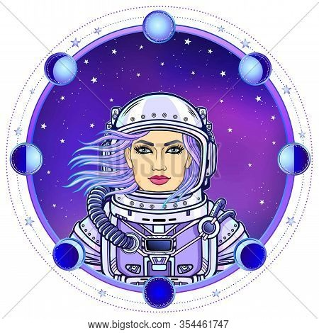 Animation Woman Astronaut In A Space Suit. Color Drawing. Background - The Night Star Sky, Circle Ph