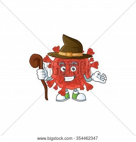 Sweet And Tricky Witch Red Corona Virus Cartoon Character