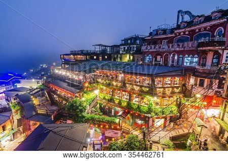 Taipei, Taiwan - May 15, 2019 : The Top View And Night View Of Jiufen Old Street, A Famous Sightseei