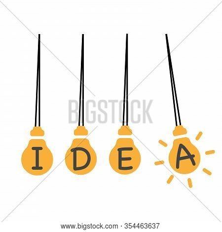 Creative Light Bulb Idea Concept, Business Idea. Pendulum With Ligt Bulb. Stock Vector Illustration