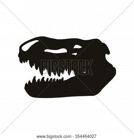 Prestosuchus Chiniquensis Fossilized Skull Hsilhouette Image. Carnivorous Pseudosuchians Dinosaur Fo