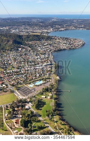 Aerial View Of The Lake Mcquarie Suburbs Of Speers Point And Warners Bay, Both Popular Residential A