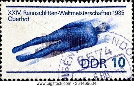 02 11 2020 Divnoe Stavropol Territory Russia The Postage Stamp Gdr 1985 Luge World Championship 24 W