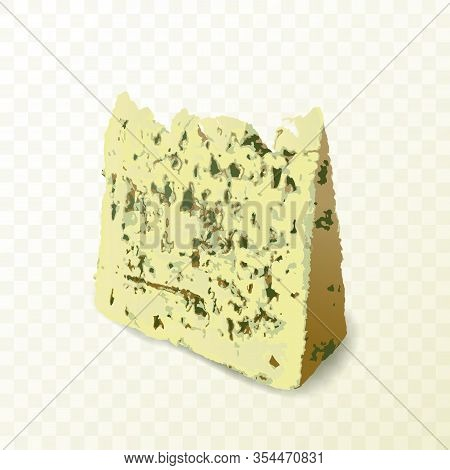 Piece Of Blue Mold Cheese On White Background Close Up