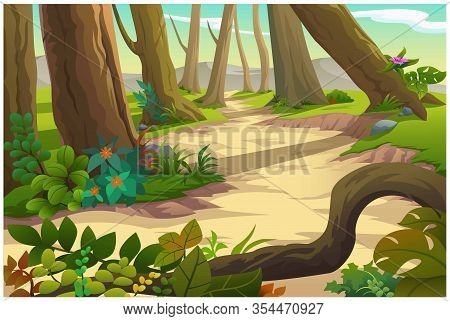 Vector Illustration Of A Tree And Graphic Of Jungle