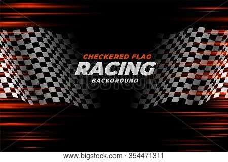 Checkered Racing Flag Speed Background Vector Design Illustration