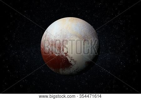 Planet Pluto In The Starry Sky Of Solar System In Space. This Image Elements Furnished By Nasa.