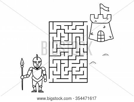 Black Coloring Pages With Maze. Cartoon Knight And Castle. Kids Education Art Game. Template Design