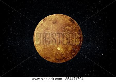 Planet Venus In The Starry Sky Of Solar System In Space. This Image Elements Furnished By Nasa.