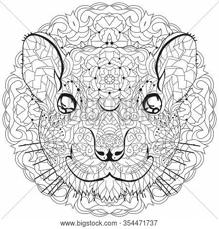 Zentangle Stylized Rat Head On A Circular Ornament. Hand Drawn Lace Vector Illustration For Coloring