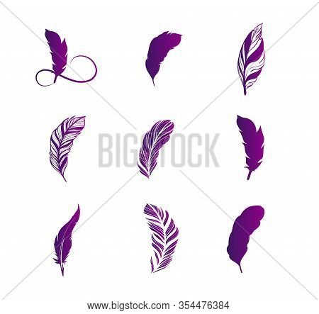 Large Set Of Feathers Purple Gradient Design. Happy Writer Day, Community Of Writers. Vintage Feathe