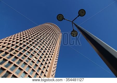 Lyon, France - March 6, 2015: The Tour Part-dieu Is A Skyscraper In Lyon, France. The Building Rises