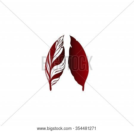 Two Red Gradient Print Feathers. Vector Vintage Feathers Template. Happy Writer Day! Community Of Wr