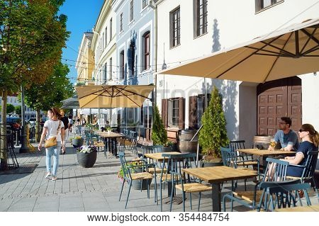 Vilnius, Lithuania - June 18, 2019: Narrow Streets Of The Old Town Of Vilnius, One Of The Largest Su