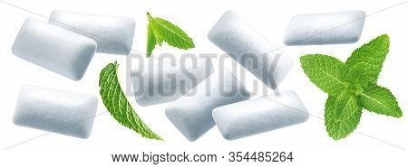 Chewing Gum Pads With Mint Leaves Isolated On White Background